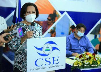Daysi Torres, reaparece juramentando a los Consejos Electorales Municipales de Managua. Foto: medios oficialistas.