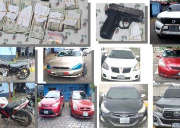 Policía orteguista decomisa más de 400 mil dólares y captura a seis sospechosos, entre ellos dos hondureños. Foto: Portal de la Policía.