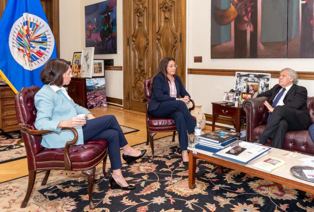 Bertha Valle y Victoria Cárdenas se reunieron con Luis Almagro para abogar por la liberación de sus detenidos. Foto: Cortesía.