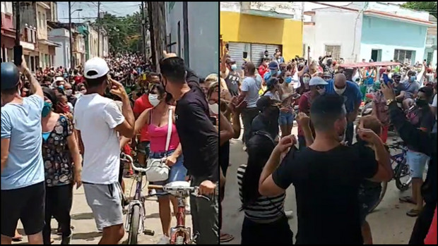 Miles de cubanos se lanzan a la calle en protesta contra el régimen comunista heredado de los Castro por Diaz-Canel. Foto: Internet.