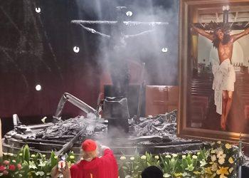 «Fue un atentado», reitera el cardenal Brenes, tras un año del «acto terrorista» contra la capilla a la Sangre de Cristo en catedral de Managua. Foto: Noel Pérez / Artículo 66