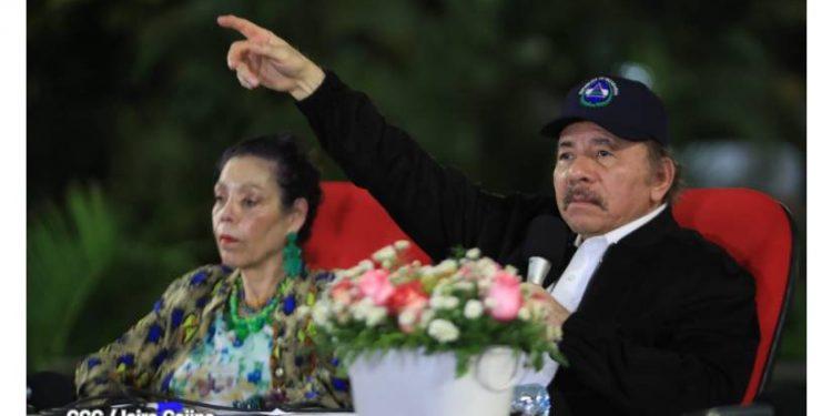 Dictador Daniel Ortega y vicedictadora Rosario Murillo. Foto: Prensa oficial.