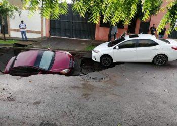 Alcaldía de Managua minimiza afectaciones por lluvias que provocaron hundimiento de calle e inundaciones. Foto: Cortesía.