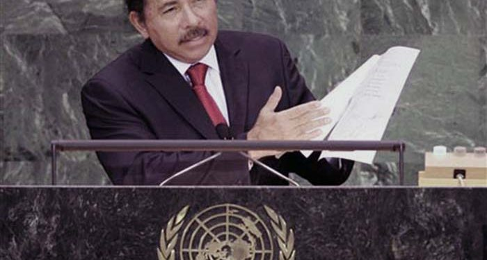 President of Nicaragua Daniel Ortega points to some papers as he addresses the 62nd session of the United Nations General Assembly, Tuesday, Sept. 25, 2007, at the U.N. headquarters. (AP Photo/Ed Betz)